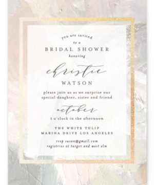Gilded Pastel Painting Foil-Pressed Bridal Shower Invitations