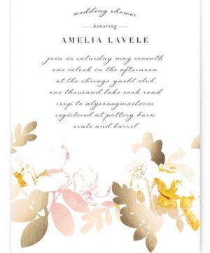 Gilded Rose Garden Foil-Pressed Bridal Shower Invitations