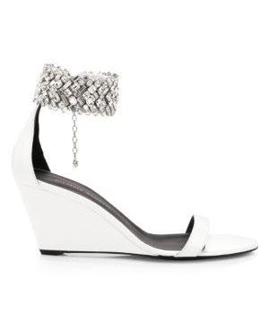 Glen Swarovski Crystal Leather Wedge Sandals