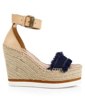 Glyn Leather & Canvas Platform Espadrille Wedge Sandals
