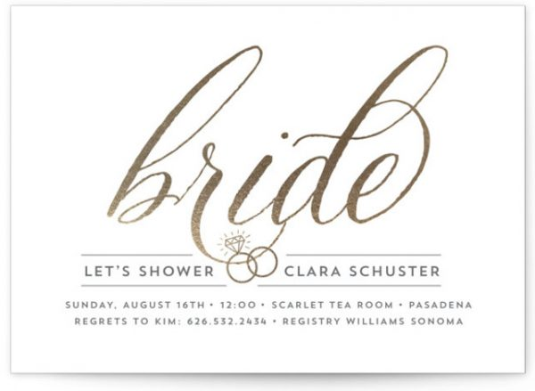 Golden Bride Bridal Shower Invitations