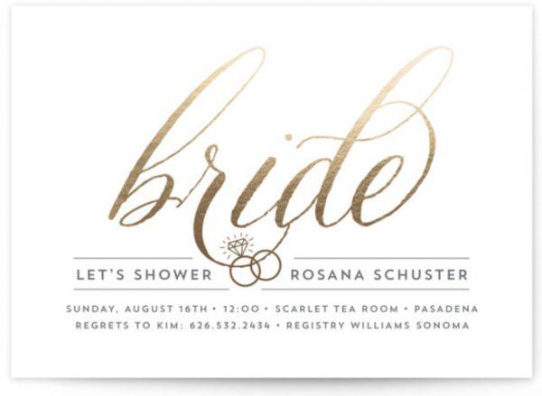 Golden Bride Foil-Pressed Bridal Shower Invitations