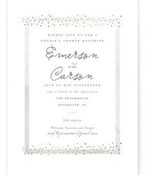Golden Fleck Foil-Pressed Bridal Shower Invitations