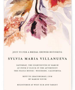 Grecian Floral Bridal Shower Invitations