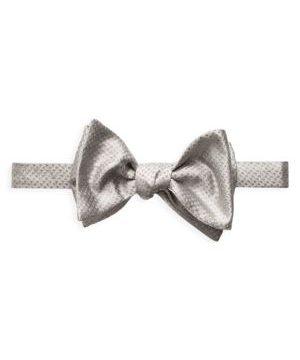 Grey Metallic Bow Tie