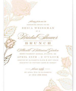Handdrawn Roses Foil-Pressed Bridal Shower Invitations