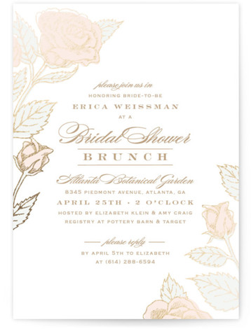 Handdrawn Roses Foil-Pressed Bridal Shower Invitations