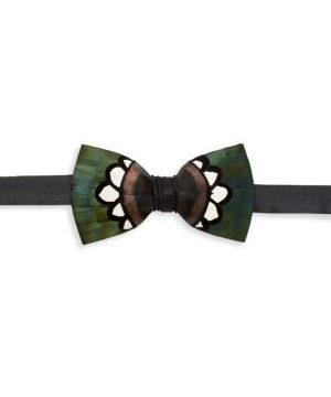 Hanna Grosgrain, Pheasant & Turkey Feather Bow Tie
