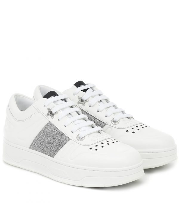 Hawaii/F glitter-trimmed leather sneakers