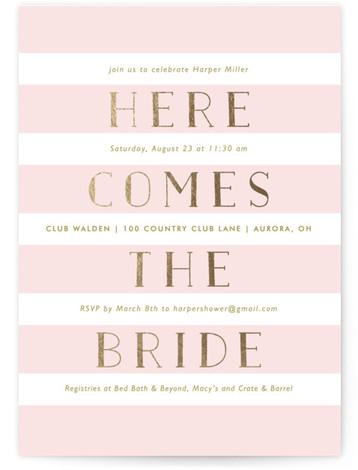 Here She Comes Foil-Pressed Bridal Shower Invitations