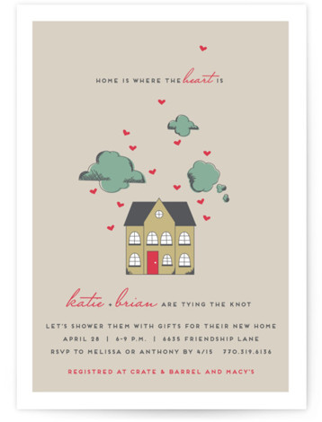 Home Is Where The Heart Is Bridal Shower Invitations