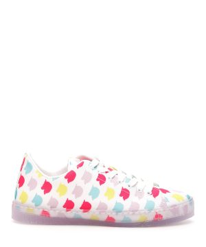 IRENEISGOOD UNICORN PATTERN LOW SNEAKERS 35 White, Fuchsia, Yellow Cotton