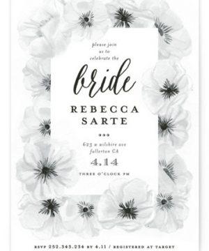 Ink Plate Floral Frame Bridal Shower Invitations