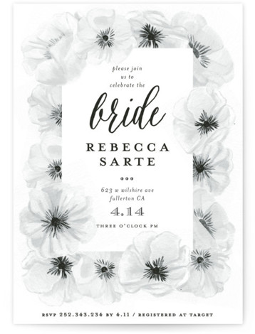 Ink Plate Floral Frame Bridal Shower Invitations