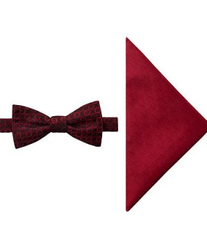 JF J.Ferrar Geometric Bow Tie Set, One Size , Red