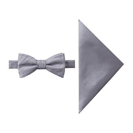 JF J.Ferrar Paisley Bow Tie Set, One Size , Silver