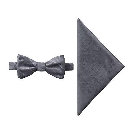 JF J.Ferrar Striped Bow Tie Set, One Size , Gray
