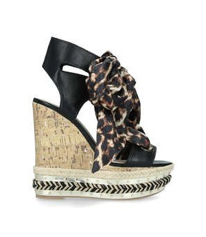 KG Kurt Geiger Rosa - High Heel Wedge Sandals With Leopard Print Ties