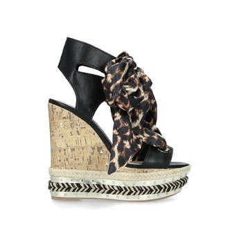 KG Kurt Geiger Rosa - High Heel Wedge Sandals With Leopard Print Ties