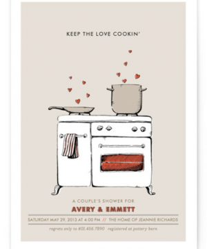 Keep The Love Cookin' Bridal Shower Invitations