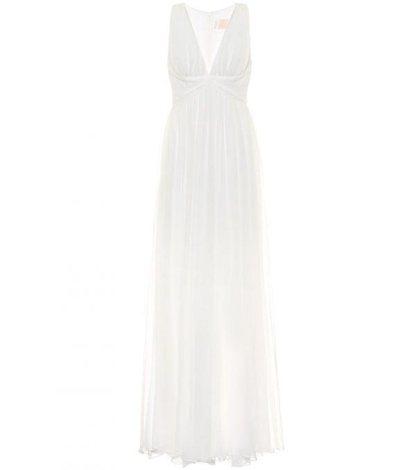 Klausen silk-chiffon bridal gown