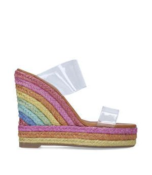Kurt Geiger London Ariana Wedge Mule - Perspex Rainbow Espadrille Wedge Sandals