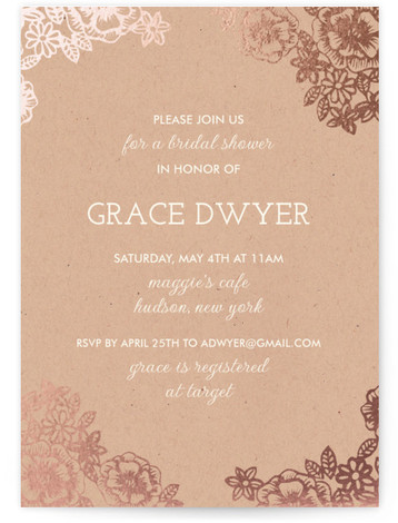 Lace And Kraft Foil-Pressed Bridal Shower Invitations