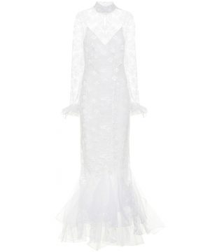 Lace high-neck bridal gown