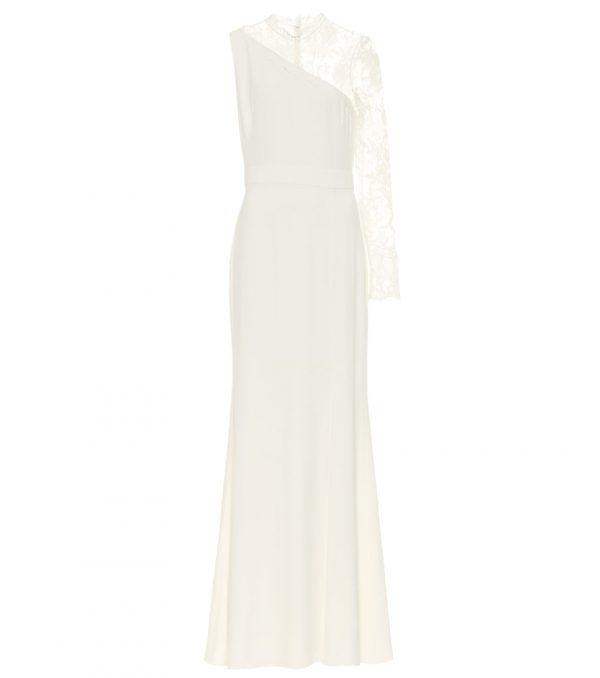 Lace-trimmed crêpe bridal gown