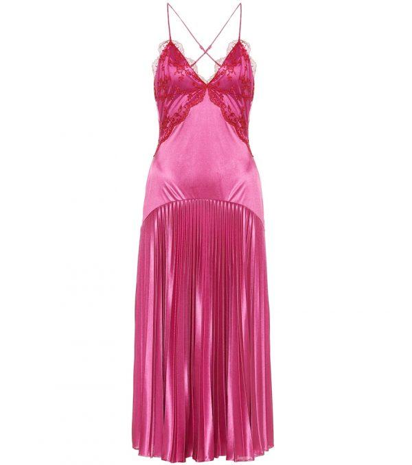 Lace-trimmed pleated satin midi dress
