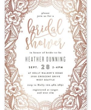 Lacey Foil-Pressed Bridal Shower Invitations