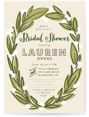 Laurel Wreath Bridal Shower Invitations