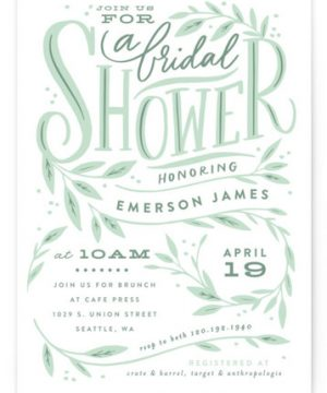 Leaf Framed Shower Bridal Shower Invitations