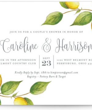Lemon Drop Bridal Shower Invitations