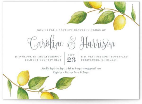 Lemon Drop Bridal Shower Invitations