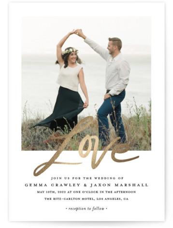 Lovely Script Foil-Pressed Wedding Invitations
