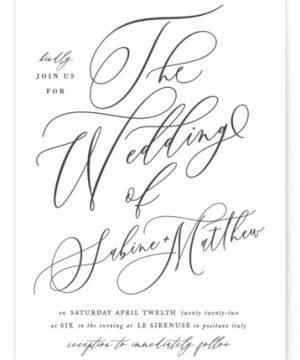 Lovely Script Letterpress Wedding Invitations