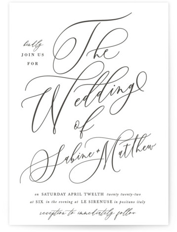 Lovely Script Letterpress Wedding Invitations