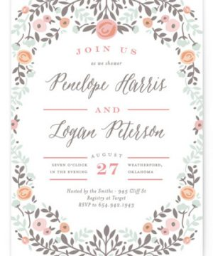 Lover's Floral Frame Bridal Shower Invitations