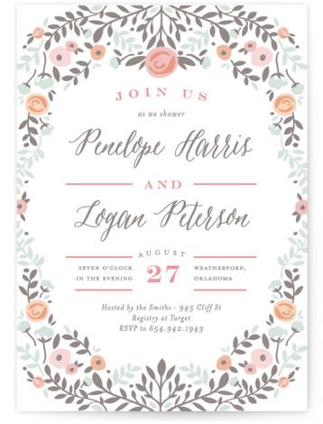Lover's Floral Frame Bridal Shower Invitations