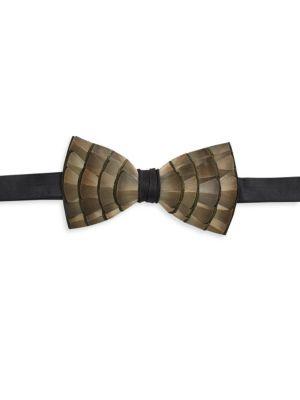 Lynx Satin Feather Bow Tie