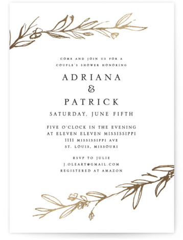 Metallic Branches Foil-Pressed Bridal Shower Invitations