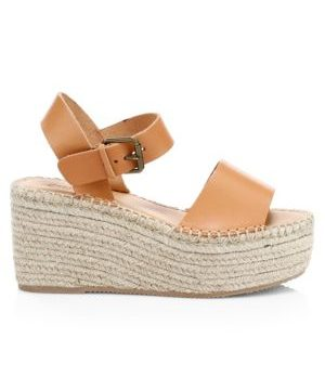 Minorca Leather Espadrille Platform Wedge Sandals