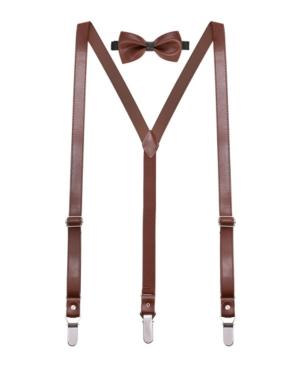Mio Marino Men's Suede Leather Suspenders Bow Tie Set