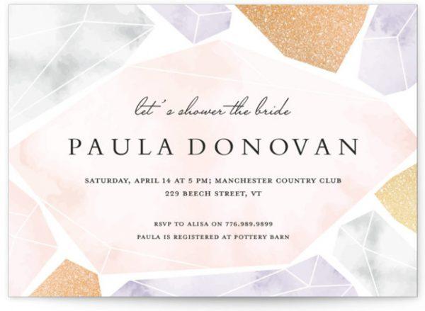 Modern Gems Foil-Pressed Bridal Shower Invitations