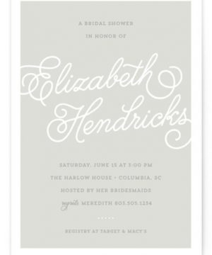 Modern Script Bridal Shower Invitations