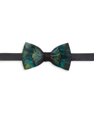 Myrna Grosgrain, Pheasant & Peacock Feather Bow Tie