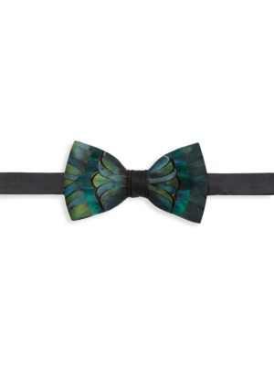 Myrna Grosgrain, Pheasant & Peacock Feather Bow Tie