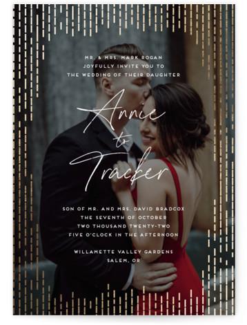 Old Hollywood Foil-Pressed Wedding Invitations