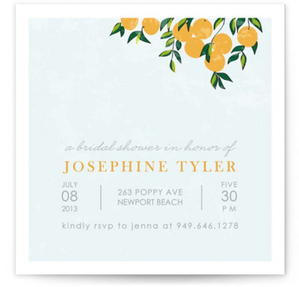 Orange Tree Bridal Shower Invitations